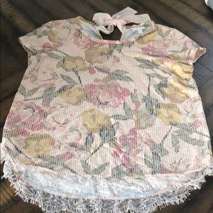 LC Lauren Conrad Floral Lace Hem Bow Back Tee
